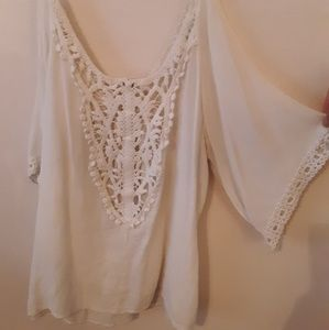 White Lace Back Blouse